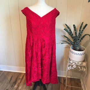 Lela Rose Red Lily Lace  Fit and Flare Dress